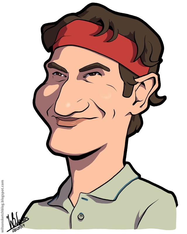Cartoon caricature of Roger Federer.
