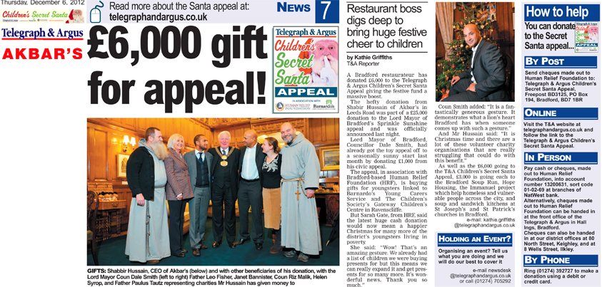 Shabir Hussain has generously donated £6,000 to the Telegraph & Argus Children's Secret Santa Appeal!