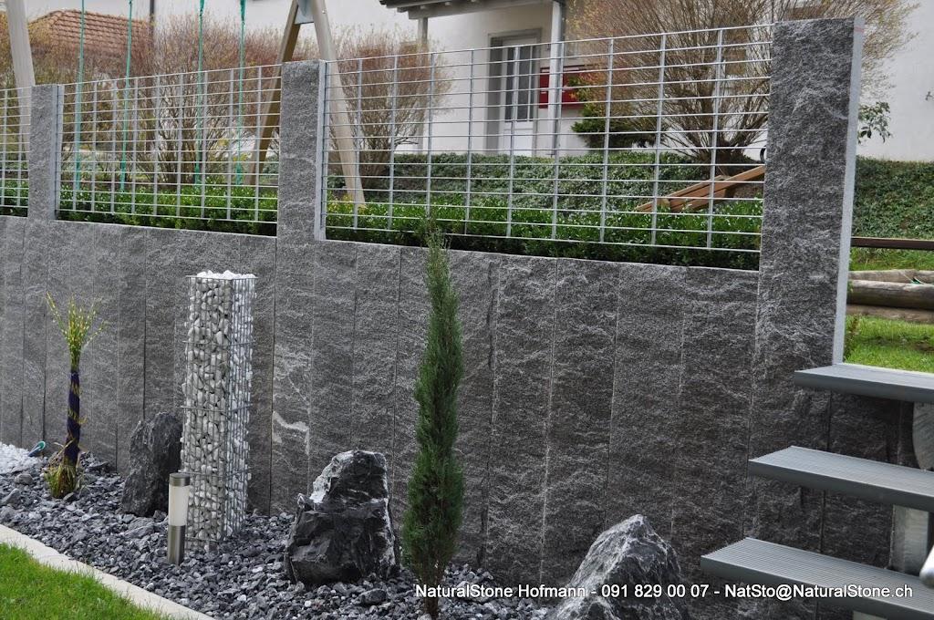 Hangabstützung granitstellen als sichtschutzwand naturalstone hofmann für ihren