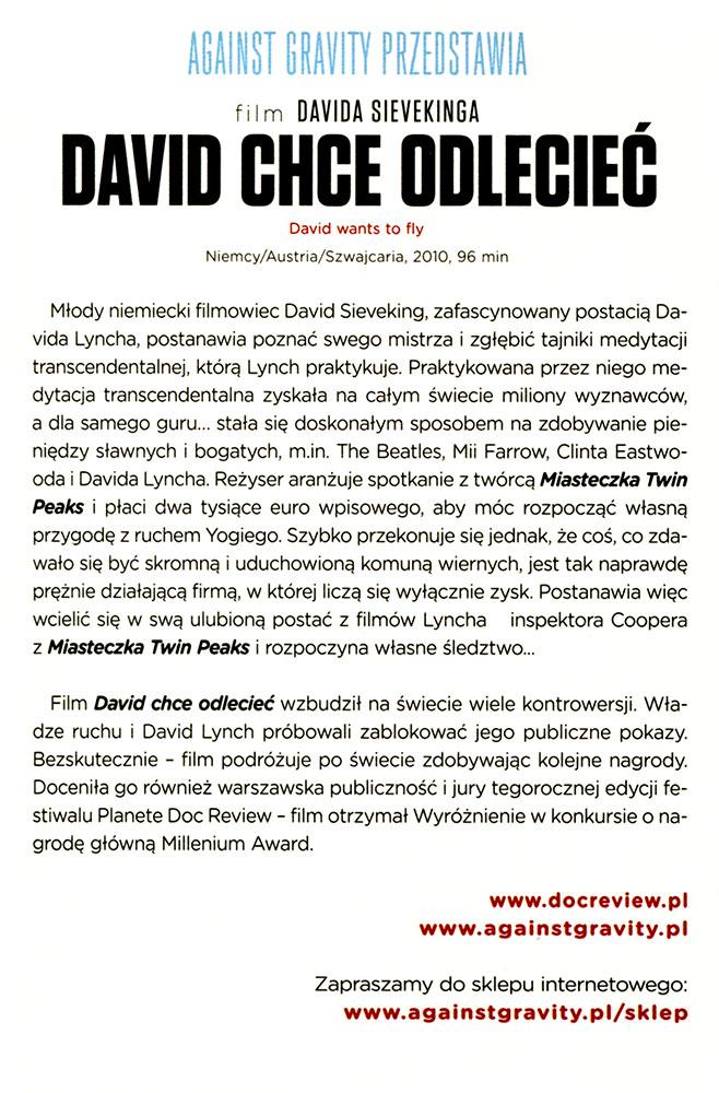 Ulotka filmu 'David Chce Odlecieć (tył)'