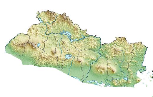 Mapa de relieve de El Salvador