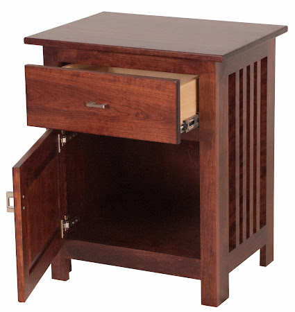 Custom Mission Nightstand with Door, in Modern Cherry