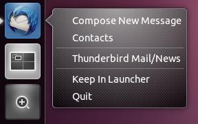 Thunderbird Ubuntu Unity quicklists