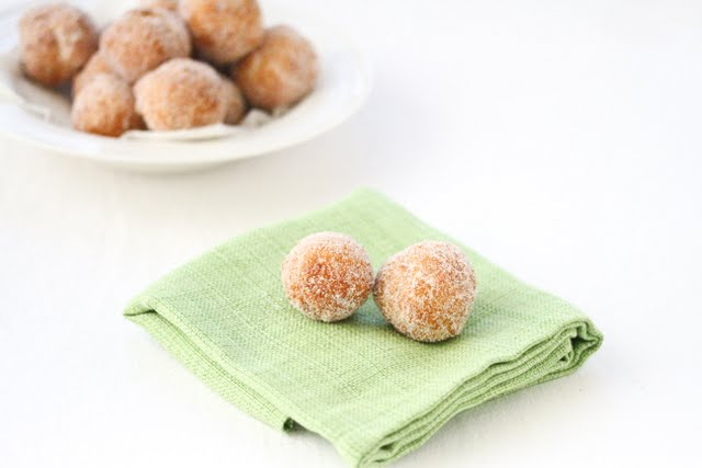 photo of two donuts on a napkin