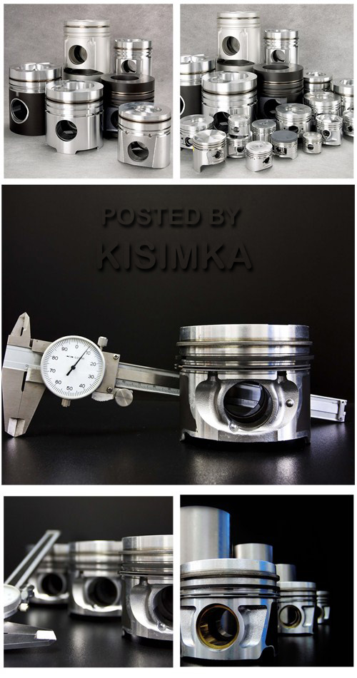 Stock Photo: Set of liners and pistons