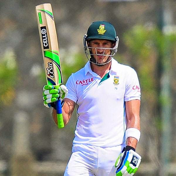 South Africa cricketer Faf du Plessis raises his bat to the crowd after scoring a half-century (50 runs) during the first day of the opening Test match between Sri Lanka and South Africa at the Galle International Cricket Stadium in Galle on July 16, 2014.