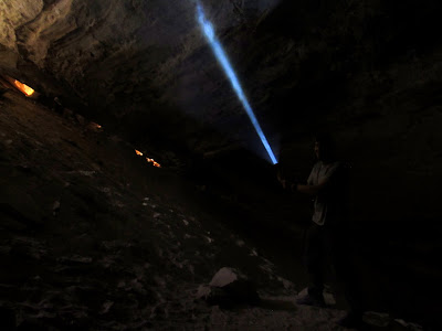 Chris with his light saber in Black Dragon Cave