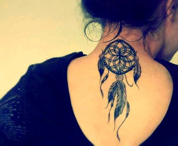 back of neck Dreamcatcher Tattoos