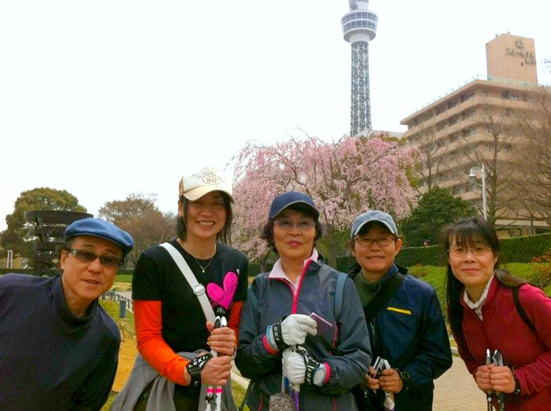 YOKOHAMAお花見ノルディックウォーキング2011年4月4日の様子