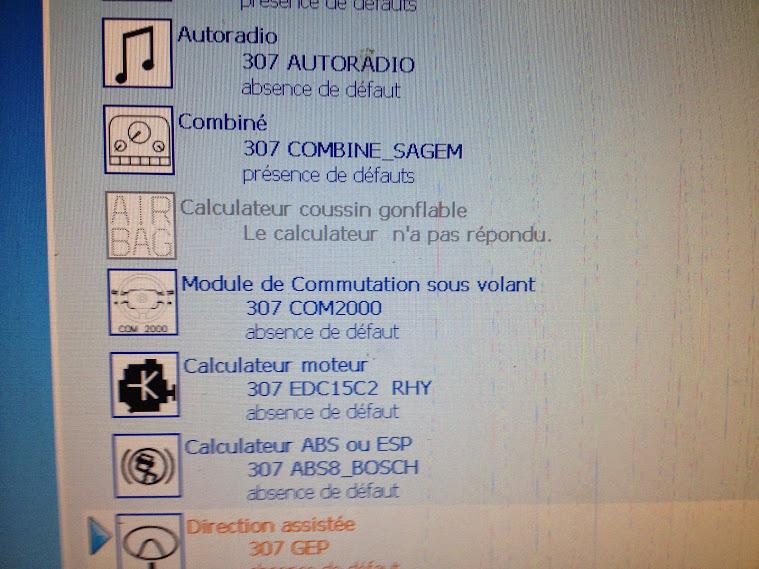 voyant airbag allumé en permanence sur 307 HDI 90cv