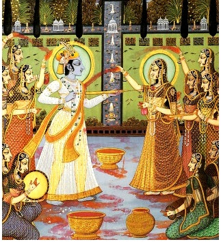Radha Krishna playing the colorful festival of Holi