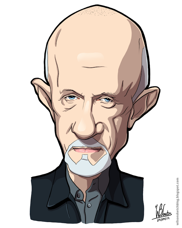 Cartoon caricature of Mike Ehrmantraut from Breaking Bad.
