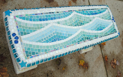 Mosaic Garden Bench -- Beach Vacation