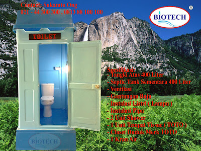 toilet portable fibreglass, flexible toilet fiberglass, temporary toilet, septic tank biotech, kakus sementara