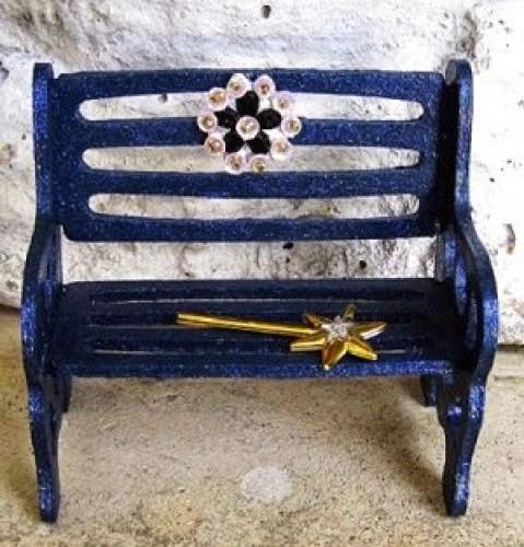 Midnight Fairy Miniature Bench Navy Blue Gothic Dollhouse Furniture By Fantasycrafts