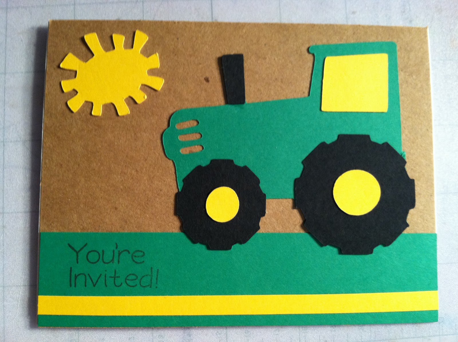 Pigtails and Paper Trails Tractor Invitations and Party Decor