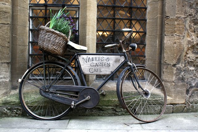 Bicycle advertising the Vaults and Garden Cafe in Oxford England