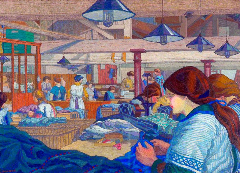 Charles Ginner - Women in a Clothing Factory