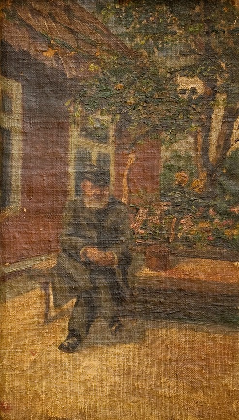 Aleksander Neumann przed domem: Walecznych 37. Malował jego wnuk Kazimierz Przybytkowski