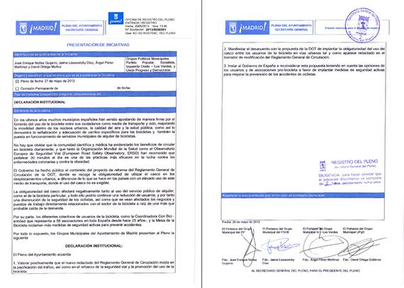 Declaración institucional del Ayuntamiento de Madrid en apoyo a la bicicleta