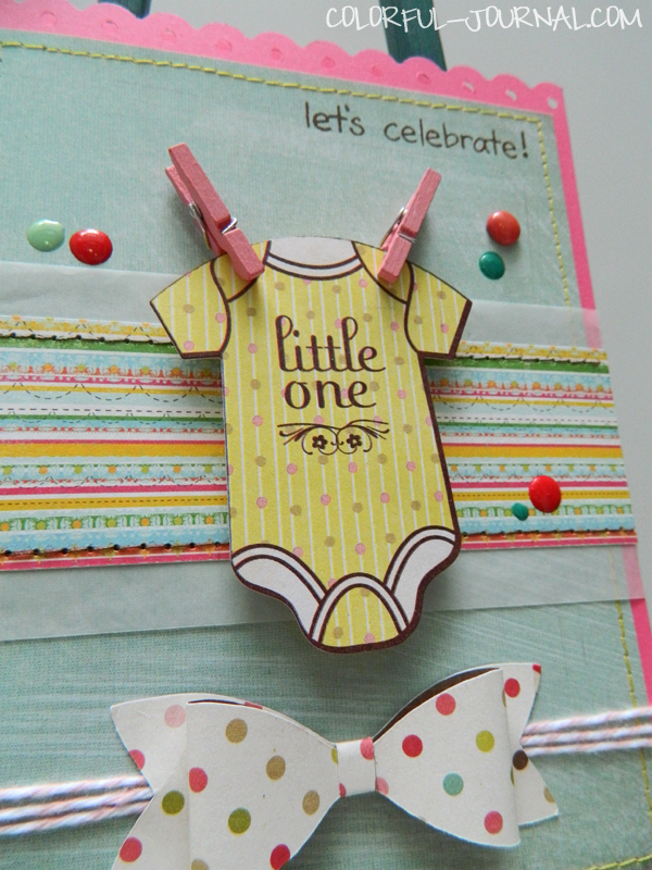 baby card bow tie silhouette basic grey fancy pants clothepins twine