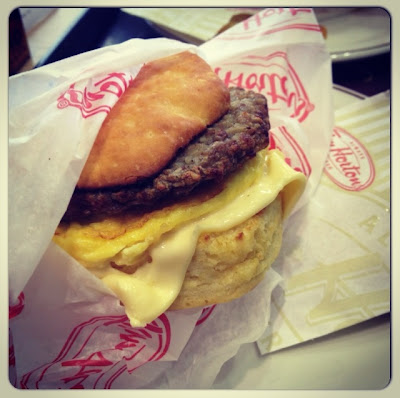 Tim Hortons' biscuit with sausage, egg and cheese