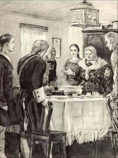 Сергей Герасимов, «Гринёв и Швабрин у Мироновых», 19 век