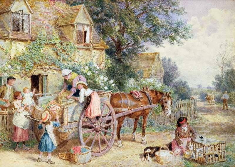 Myles Birket Foster - Loading the Cart for Market