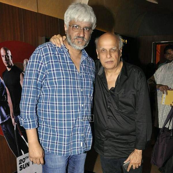 Vikram Bhatt and Mahesh Bhatt pose together  during the trailer launch of Bollywood movie Creature 3D, held at PVR, on July 16, 2014.(Pic: Viral Bhayani)