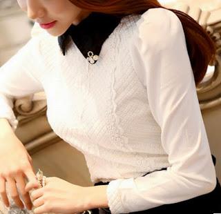 Blusa manga larga fruncida en el homb
