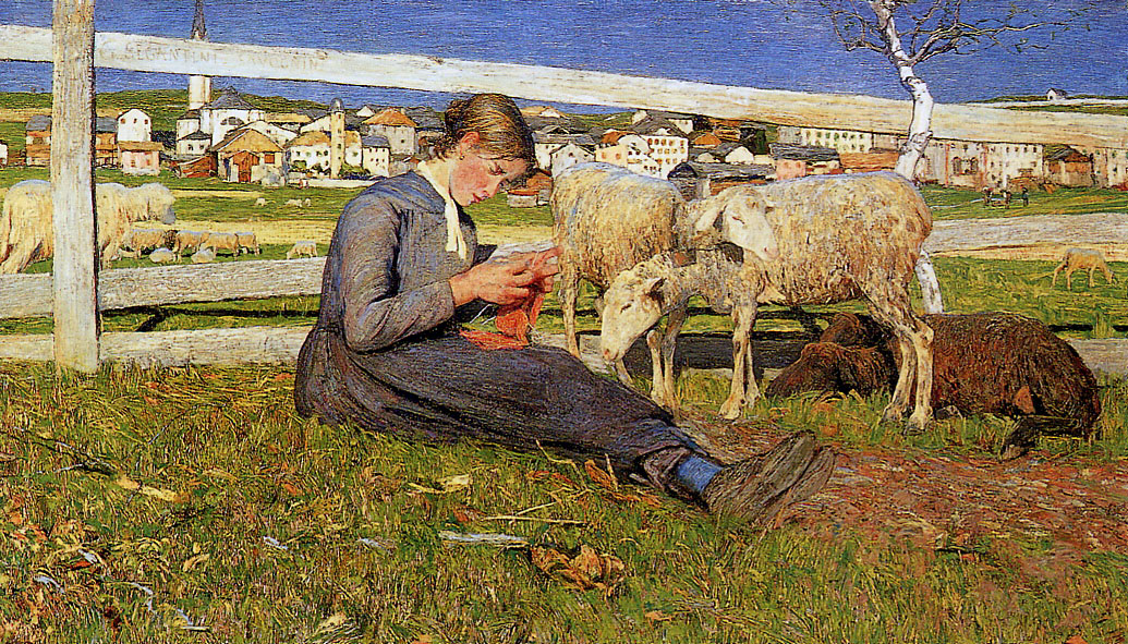Giovanni Segantini - A Girl Knitting