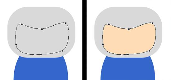 Demarcador no formato do rosto, criado com a Pen Tool