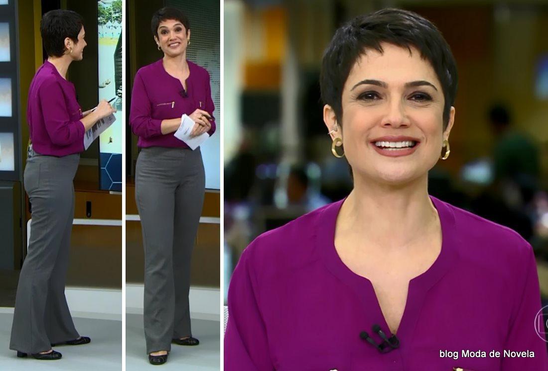 moda do programa Jornal Hoje - look da Sandra Annenberg dia 24 de junho
