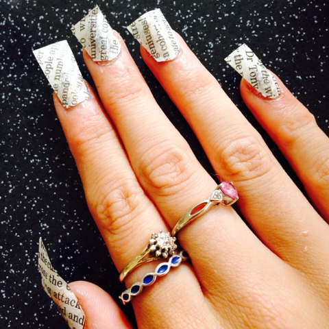 Quick, effective Newspaper Nails. These can be made with anything from Newspaper, to Magazine, to Pictures.