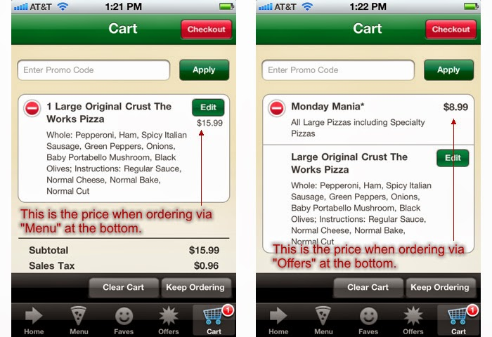 一模一樣的商品,在產品列表買,跟在優惠專區買,價錢不一樣。