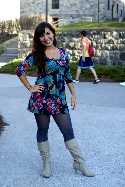 flower dress blue tights and tan boots, virginia tech fashion, virginia street style, virginia fashion, southern street style