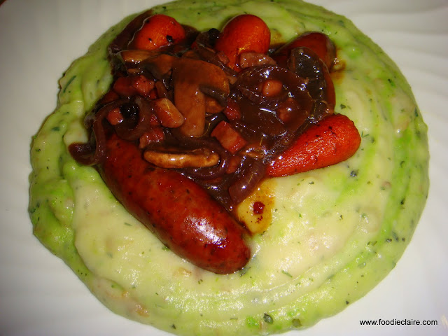 Roasted Venison Sausages with Pea and Mint Mash and Carrots