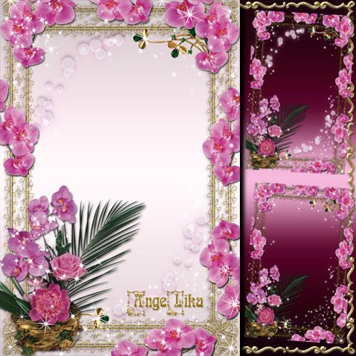 Цветочная рамка для фото - Нежные орхидеи к празднику