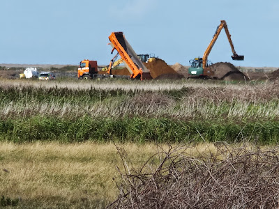 Defence works in progress on the northern side of Blakeney Freshes