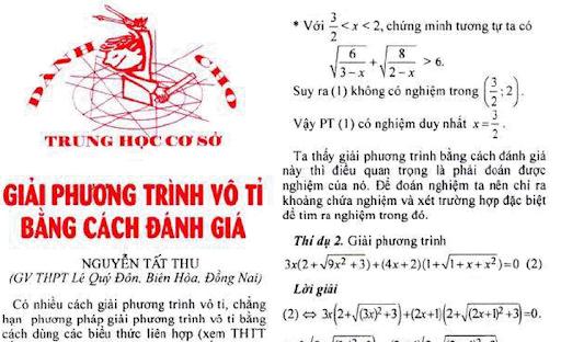 Tuyển tập phương trình vô tỉ trên THTT