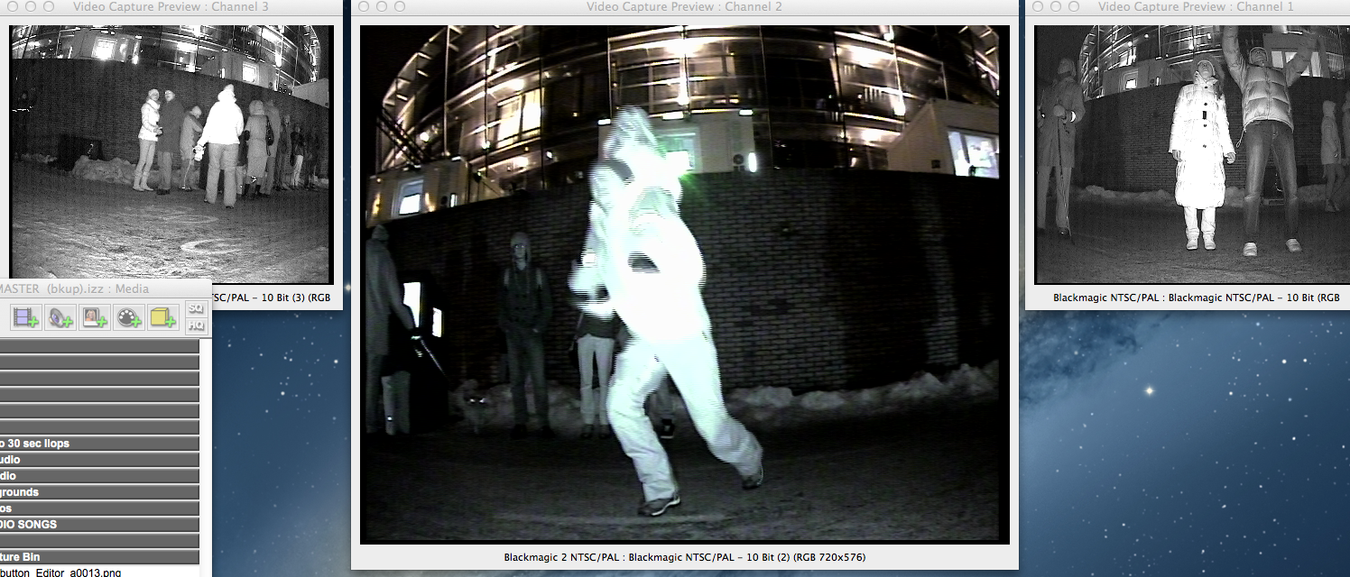 A screen shot of the live CCTV cameras in InfraRed mode.
