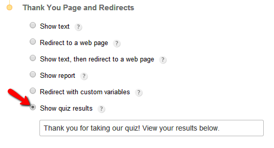 123FormBuilder Quiz redirect to results