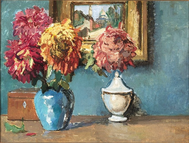 Kees Van Dongen - Still Life with Chrysanthemums and a View of Montmartre