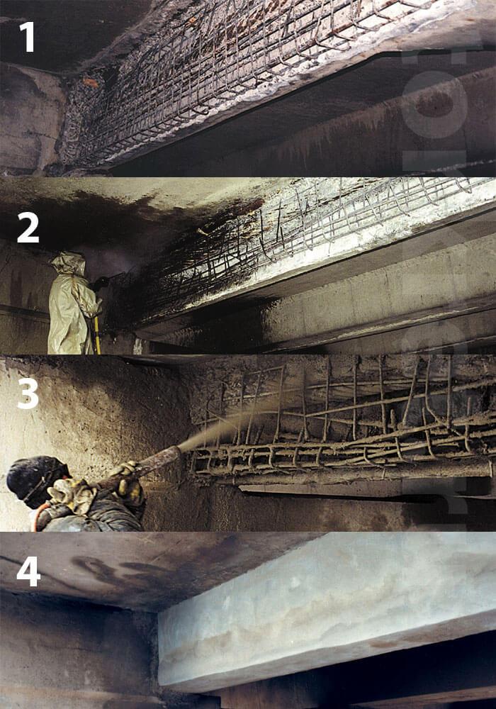 Торкретирование в ремонте бетона отличает хорошая адгезия к основанию, большой срок службы и высокая производительность работ.