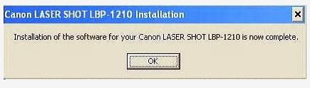 Hoàn thành việc cài đặt máy in canon 1210