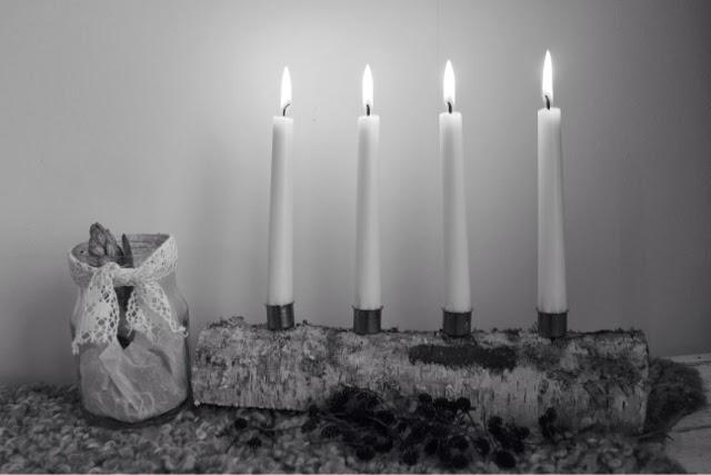 Rustik, advent, ljusstake, björk