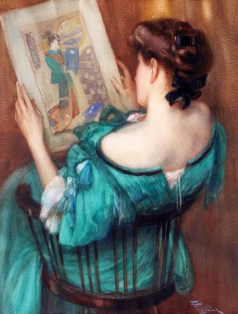 Fernand Toussaint - Woman Admiring a Japanese Print
