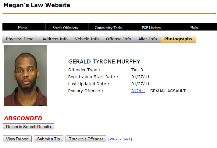 Pennsylvania registered sex offender #16981 Gerald Tyrone Murphy