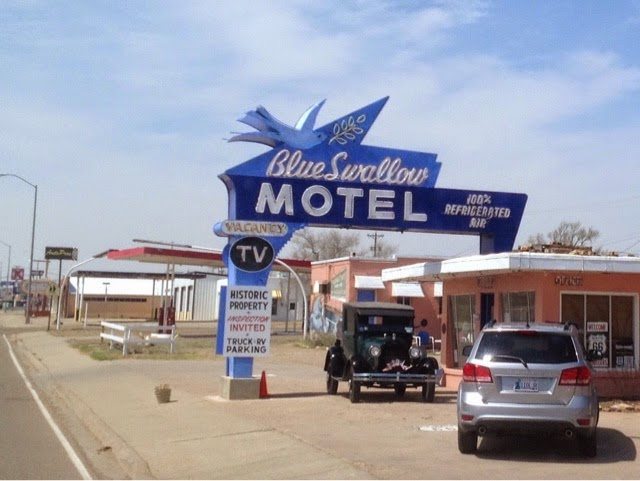 Photo of Blue Swallow Motel sign in Tucumcari NM