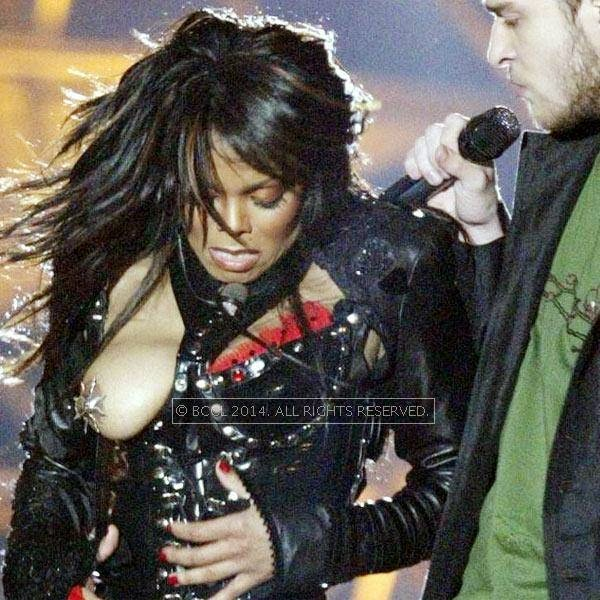 Janet Jackson's hot breast popped out of her dress as singer Justin Timberlake ripped off one of her chest plates at the end of their half time performance at the Super Bowl XXXVIII in Houston.